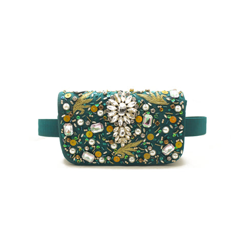 Embellished Green Belt Bag
