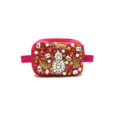Mini Embellished Pink Belt Bag