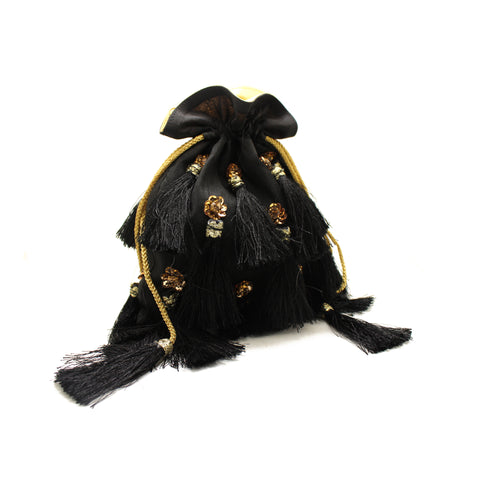 Embellished Black Tassel Pouch Bag