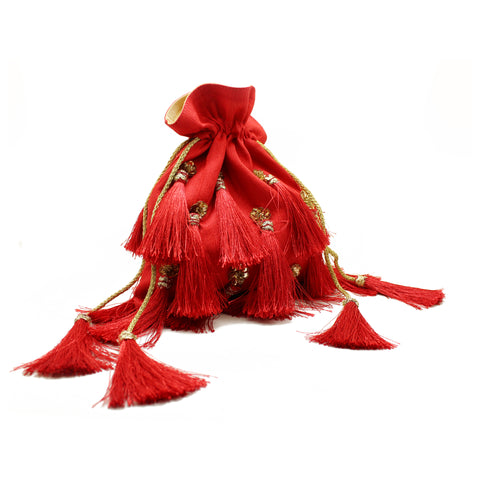 Embellished Red Tassel Pouch Bag