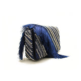 Embellished Fringe Blue Evening Bag