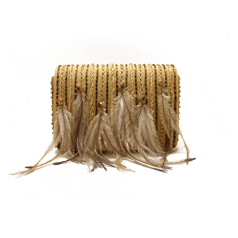 Embellished Feather Gold Evening Bag