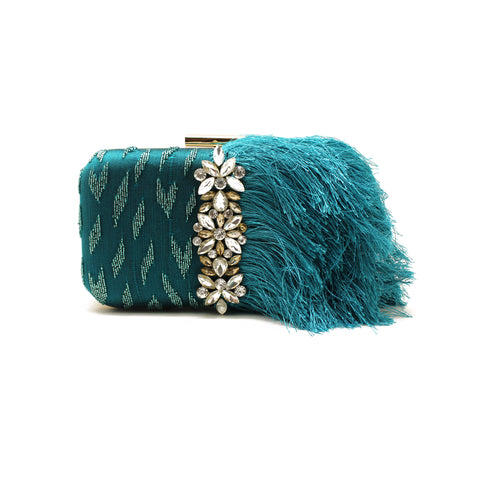 Embellished Teal Fringe Clutch