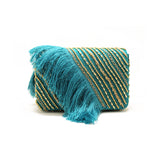Embellished Fringe Sea Green Evening Bag