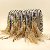 Embellished Feather Grey Silver Evening Bag