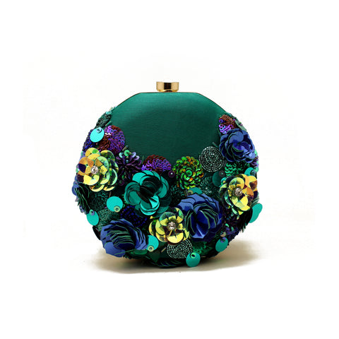 Gardenia Embellished Green Clutch