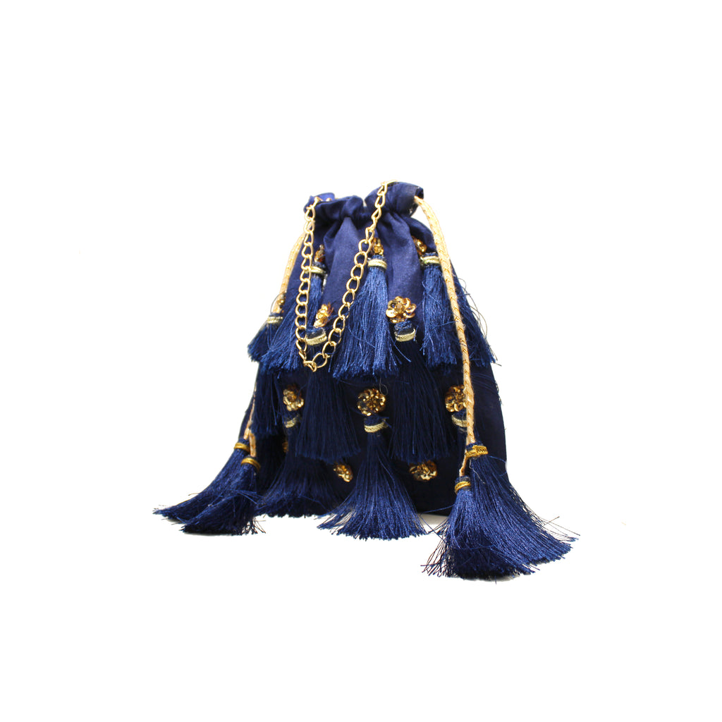 Embellished Blue Tassel Pouch Bag