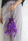 Embellished Purple Tassel Pouch Bag