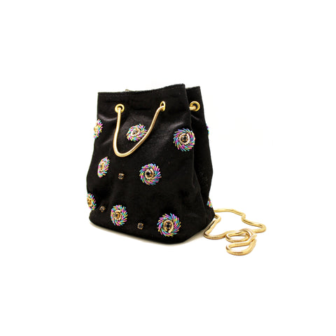 Céleste Mini Black Bucket Bag