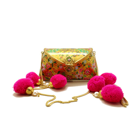 Golden Hand Painted Clutch Bag - Limited Edition
