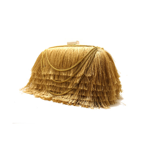 Layered Gold Fringe Clutch