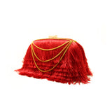 Layered Red Fringe Clutch