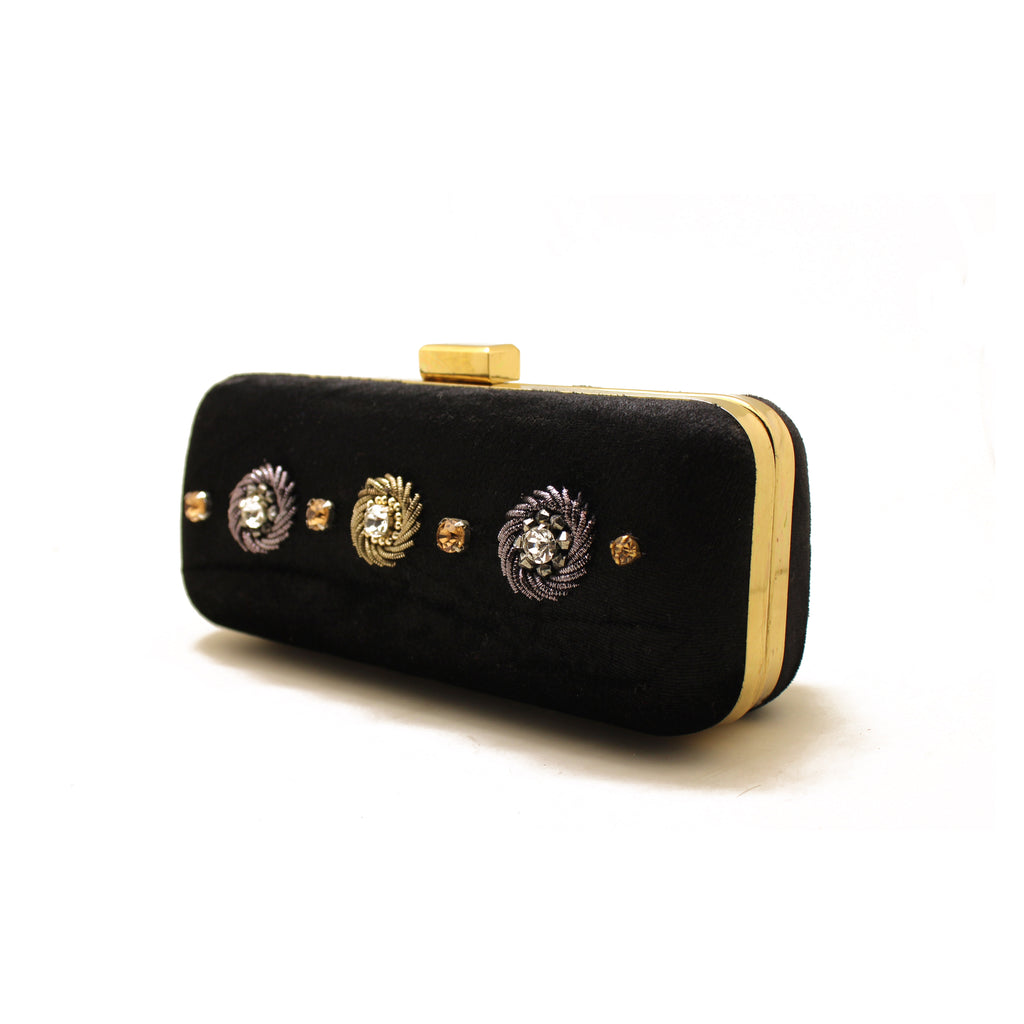 Céleste Mini Black Clutch Bag