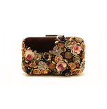 Gardenia Embellished Brown Clutch