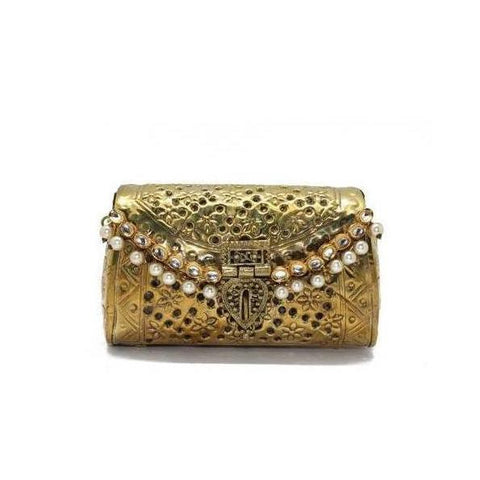 SOLD OUT - Antique Golden Cutwork Embellished Purse