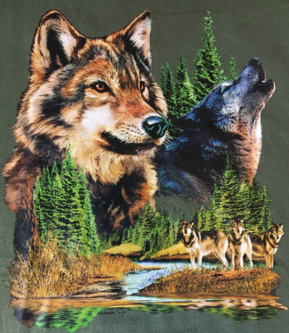 Wolf face closeup, howling wolf and wolf pack t shirt