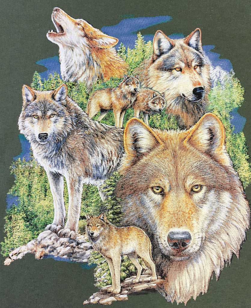 Wolf montage-5 wolves t shirt