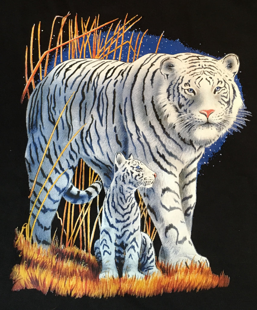 White tiger and cub t shirt