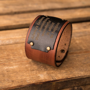 Leather bracelet Universe | Brown color