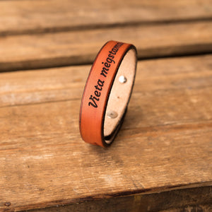 Leather bracelet Spirit | Orange color