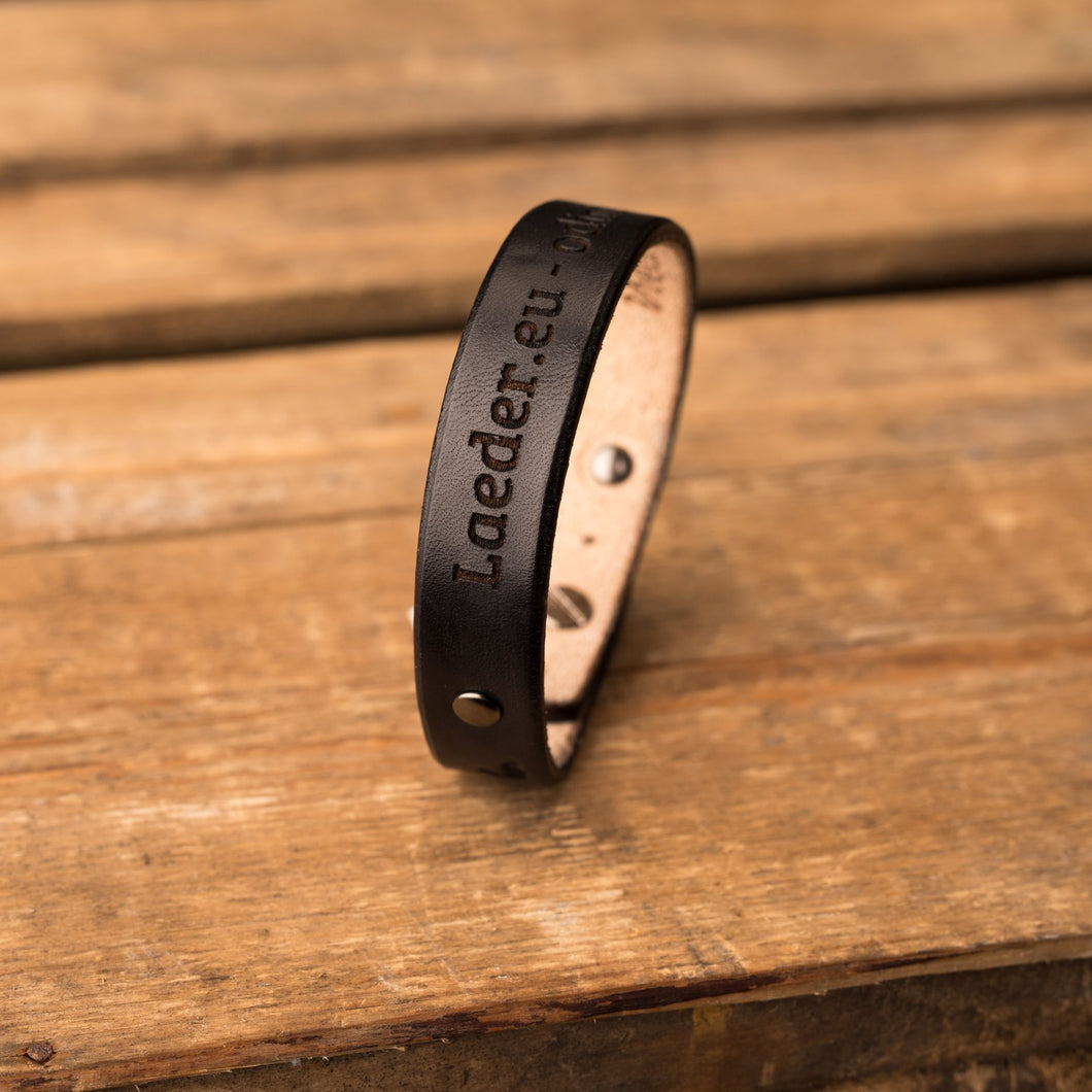 Leather bracelet Spirit | Black color