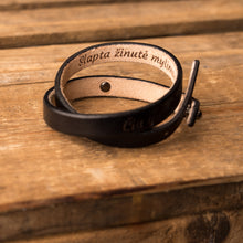 Load image into Gallery viewer, Leather bracelet Twist | Black color