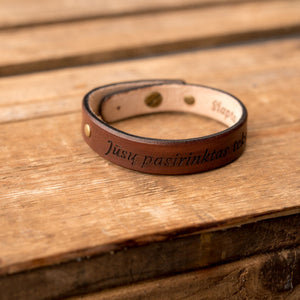 Leather bracelets for couples Spirit (2 pcs.) | Brown color