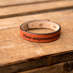 Leather bracelets for couples Spirit (2 pcs.) | Orange color