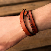 Load image into Gallery viewer, Leather bracelets for couples Twist (2 pcs.) | Orange color