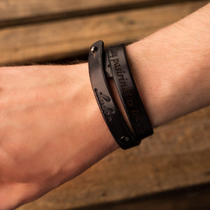 Leather bracelets for couples Twist (2 pcs.) | Black color