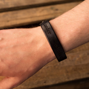 Leather bracelets for couples Spirit (2 pcs.) | Black color