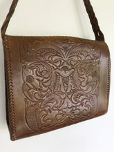 Load image into Gallery viewer, Brown leather tooled bag