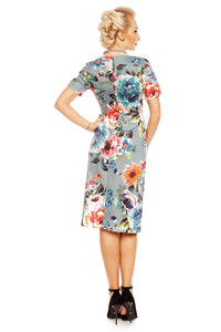 Dolly & Dotty 50s style Pencil dress blue floral