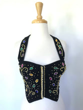Load image into Gallery viewer, 90s Beaded Velvet Bustier