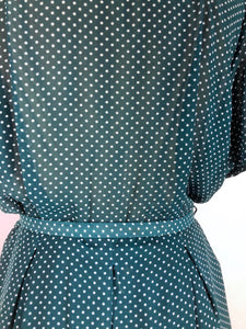 90s polkadot midi dress