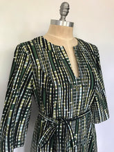 Load image into Gallery viewer, 70s Long Sleeve Green and Black Dress