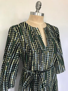 70s Long Sleeve Green and Black Dress