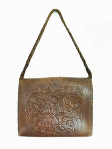 Brown leather tooled bag