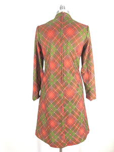 70s long sleeve plaid print dress