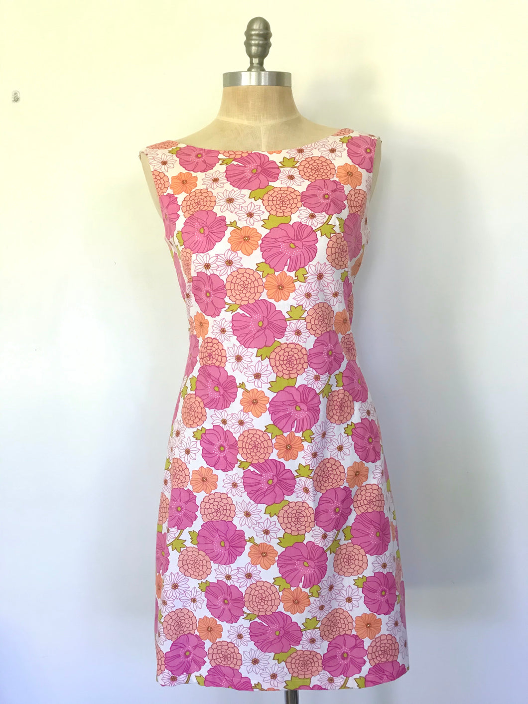 60s Style Flower Power Pink Shift Dress