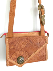 Leather tooled bag, hand carved Kangaroo design