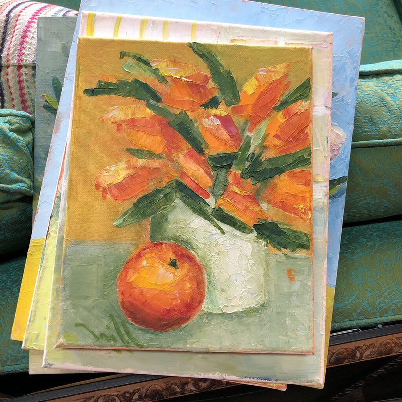 smaller flowers on canvas w/orange