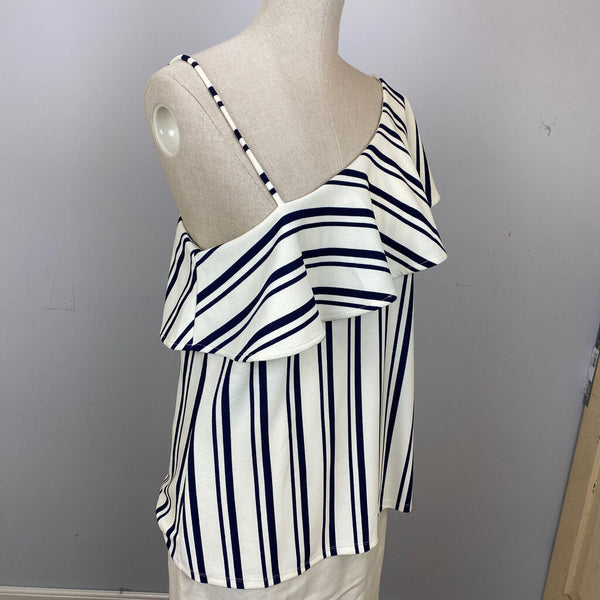 striped ruffle one shoulder