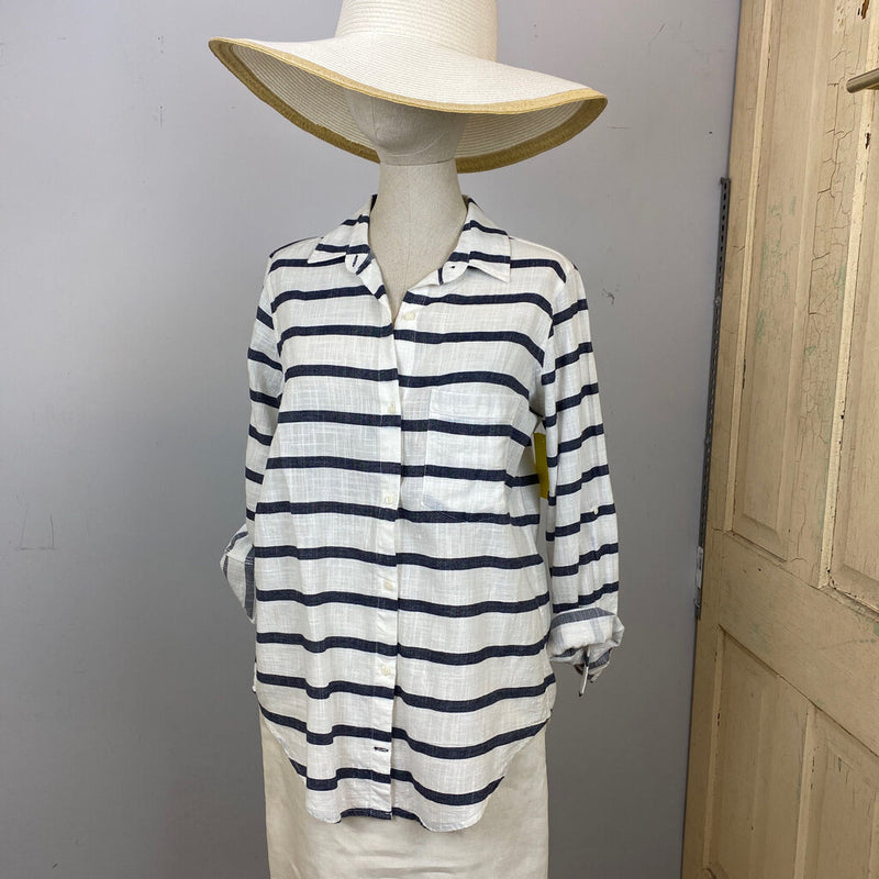 striped linen button down