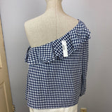 nwt plaid ruffle one shoulder top