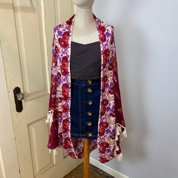 floral with tassels kimono
