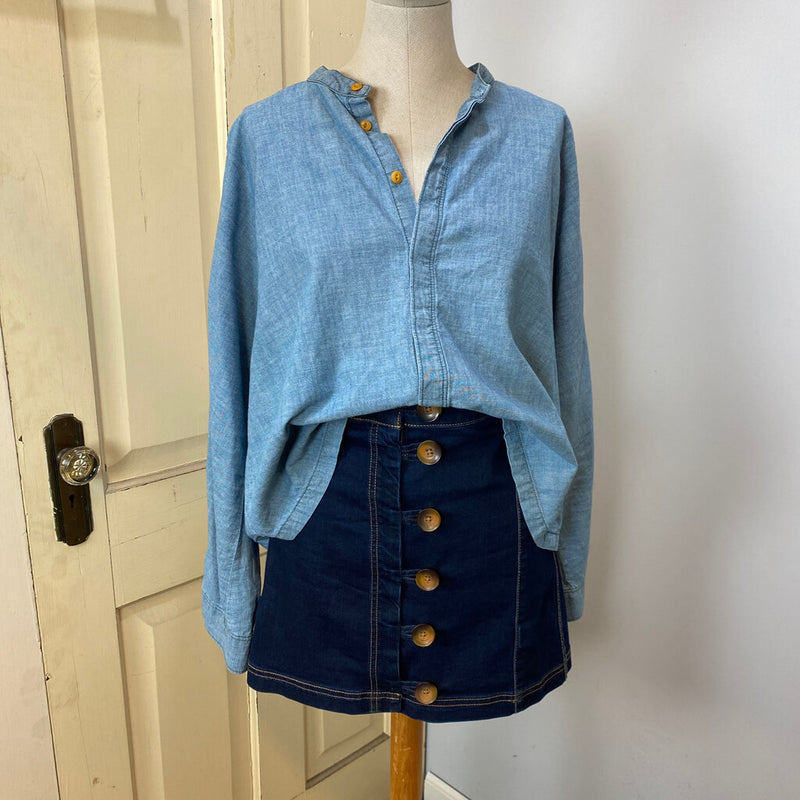 cropped chambray button down