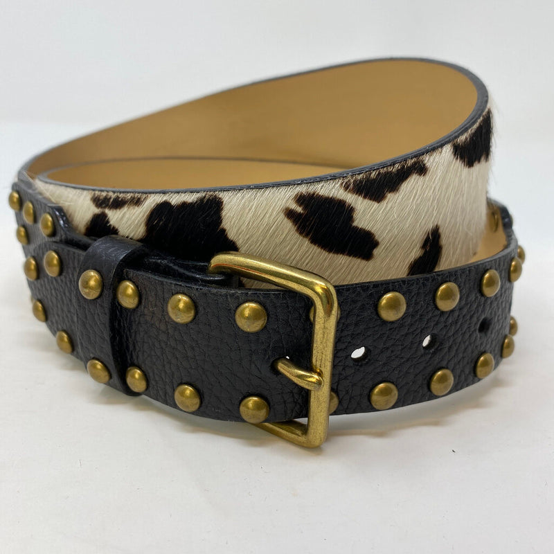 pony hair studded leather belt