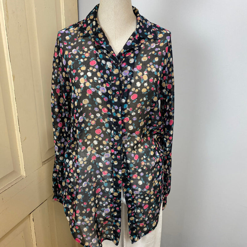 sheer fruit print button down