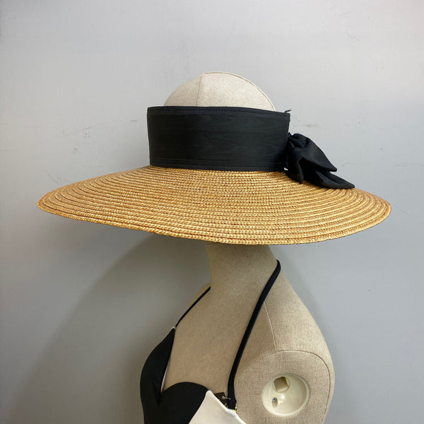 straw with black band open hat